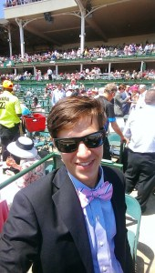 David Hein in Pink Bow Tie at Kentucky Oaks