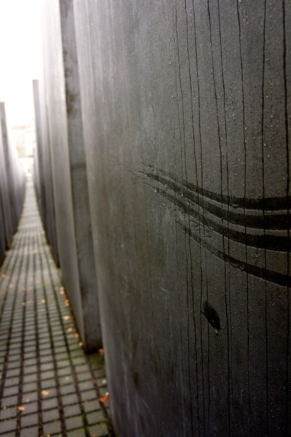 Memorial to the Murdered Jews of Europe - Grey slabs of varying heights of cement were stacked in rows and the ground waved up and down, extremely uneven. I assume they were trying to disorientate you and make you feel uneasy and slightly trapped and helpless just like the victims would have felt.