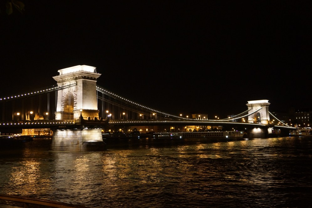 View of Chain Bridge from our stroll along the Dunabe River