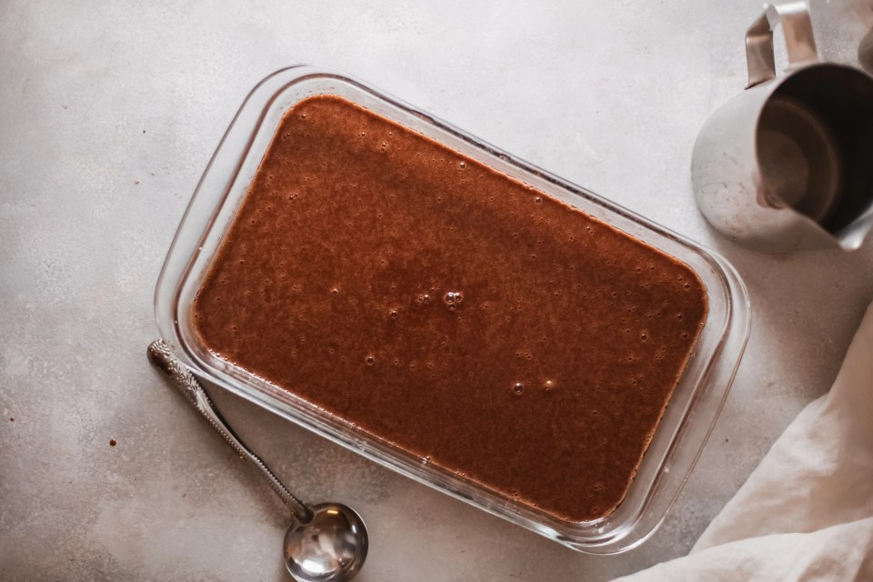 Sticky Toffee Pudding - Pour into Pan