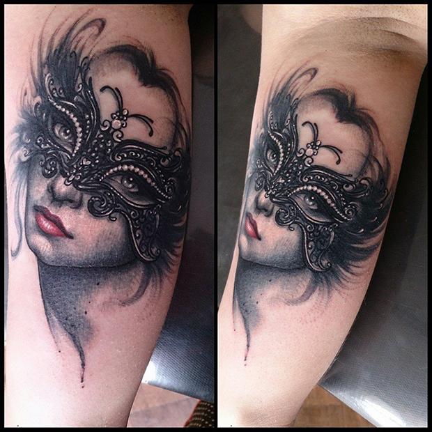 follow the colours tattoo friday realismo aquarela suliée pepper mulher mascarada