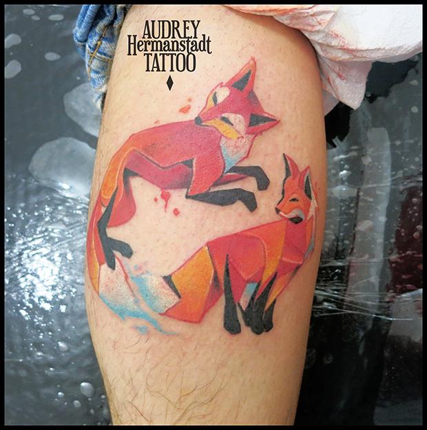 tattoo aquarela Audrey Hermanstadt raposas
