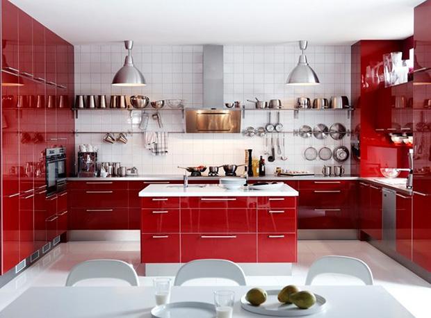 vermelho decoração cozinha grande