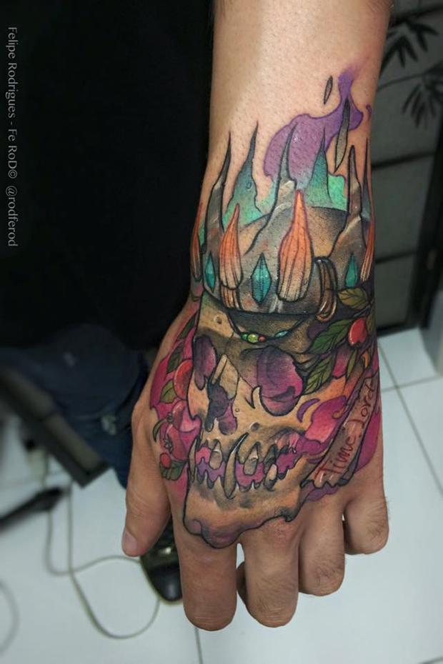 Watercolor tattoo Felipe Rodrigues caveira