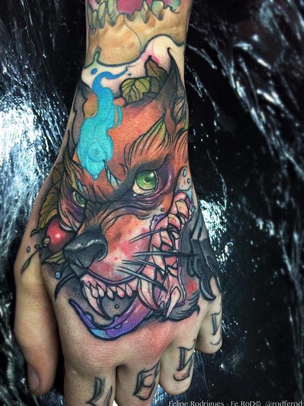 Watercolor tattoo Felipe Rodrigues cachorro