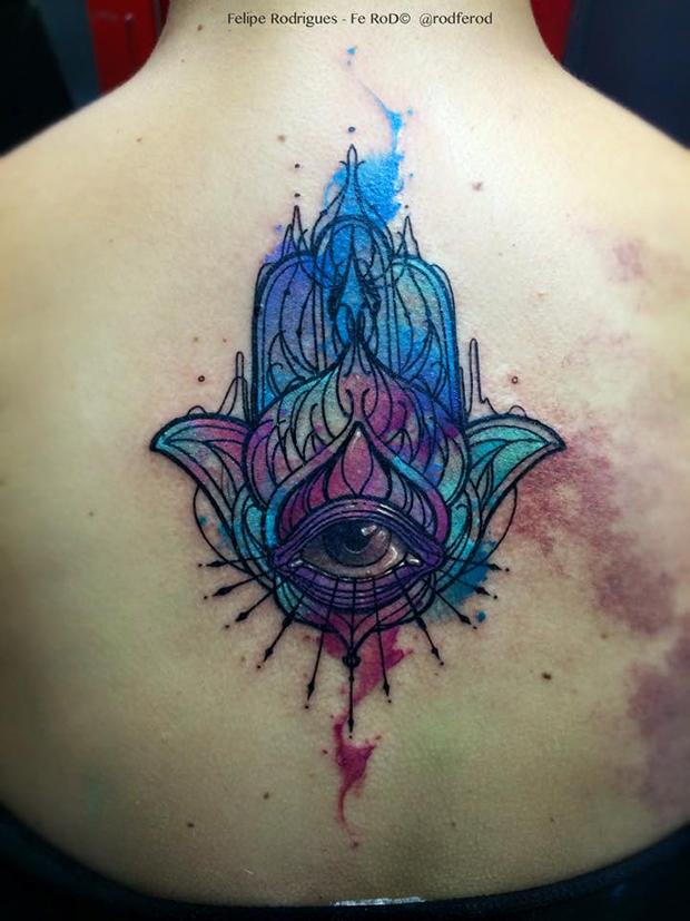 Watercolor tattoo Felipe Rodrigues Hamsa