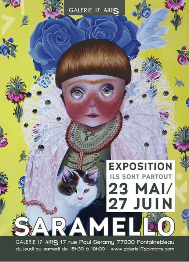 exposição Saramello França Ils sont partout pinturas gatos exposition