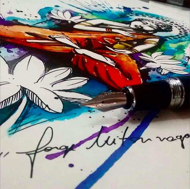 tattoo aquarela watercolor jorge Mitsunaga buddha desenho