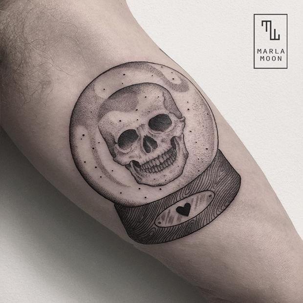 tattoo tatuagens linhas finas marla moon caveira