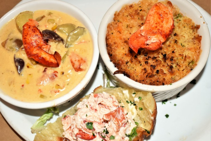 Lobster Chowder, Lobster Mac  & Cheese, and a Lobster Croissant at Fo'c'sle Tavern in Chester, Nova Scotia during Nova Scotia's South Shore Lobster Crawl.