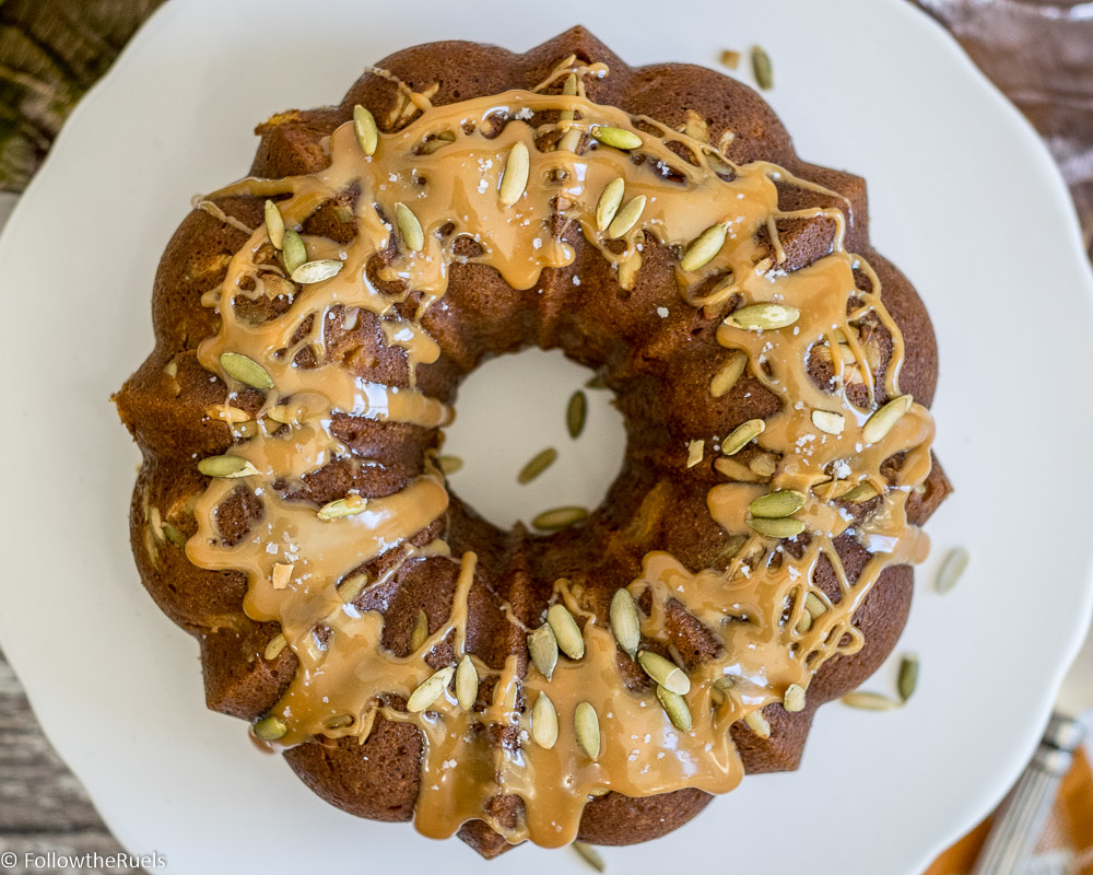 Salted Caramel Pumpkin-Apple Cake