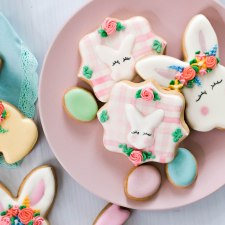 Flower Crown Easter Bunny Cookies