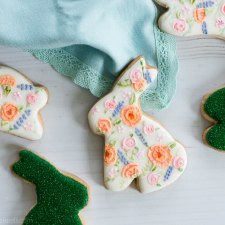 Floral and Moss Easter Bunny Cookies