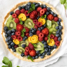 Beautiful Fruit Tart with Almond Crust