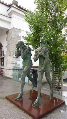 Sculpture of Adam and Eve on Butcher's Bridge, Ljubljana