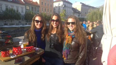 Nina, Ellie, and Boryana at Slovenian house