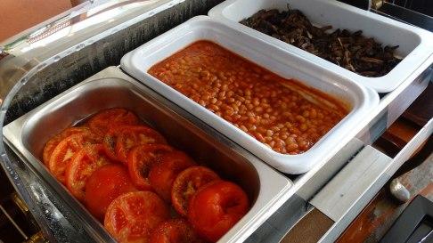 Park Inn by Radisson, breakfast baked beans, mushrooms, and tomato
