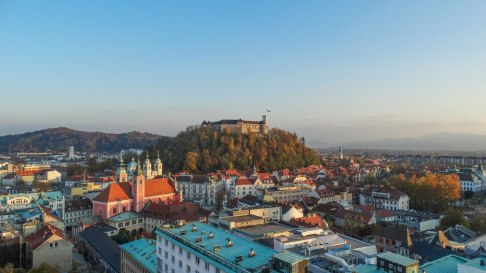 The castle as seen from Neboticnik, Ljubljana