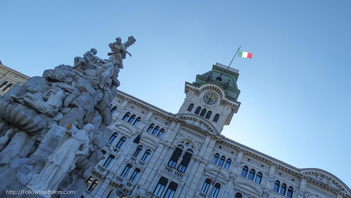 Ellie Alexander in front of the Government House In Trieste Italy