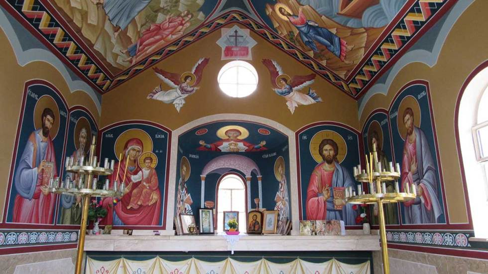 Wall murals in one of the chapels in cross forest