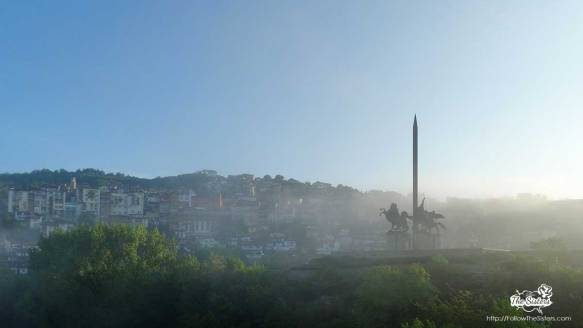 Assenevtsi monument in Veliko Tarnovo covered by fog in the morning
