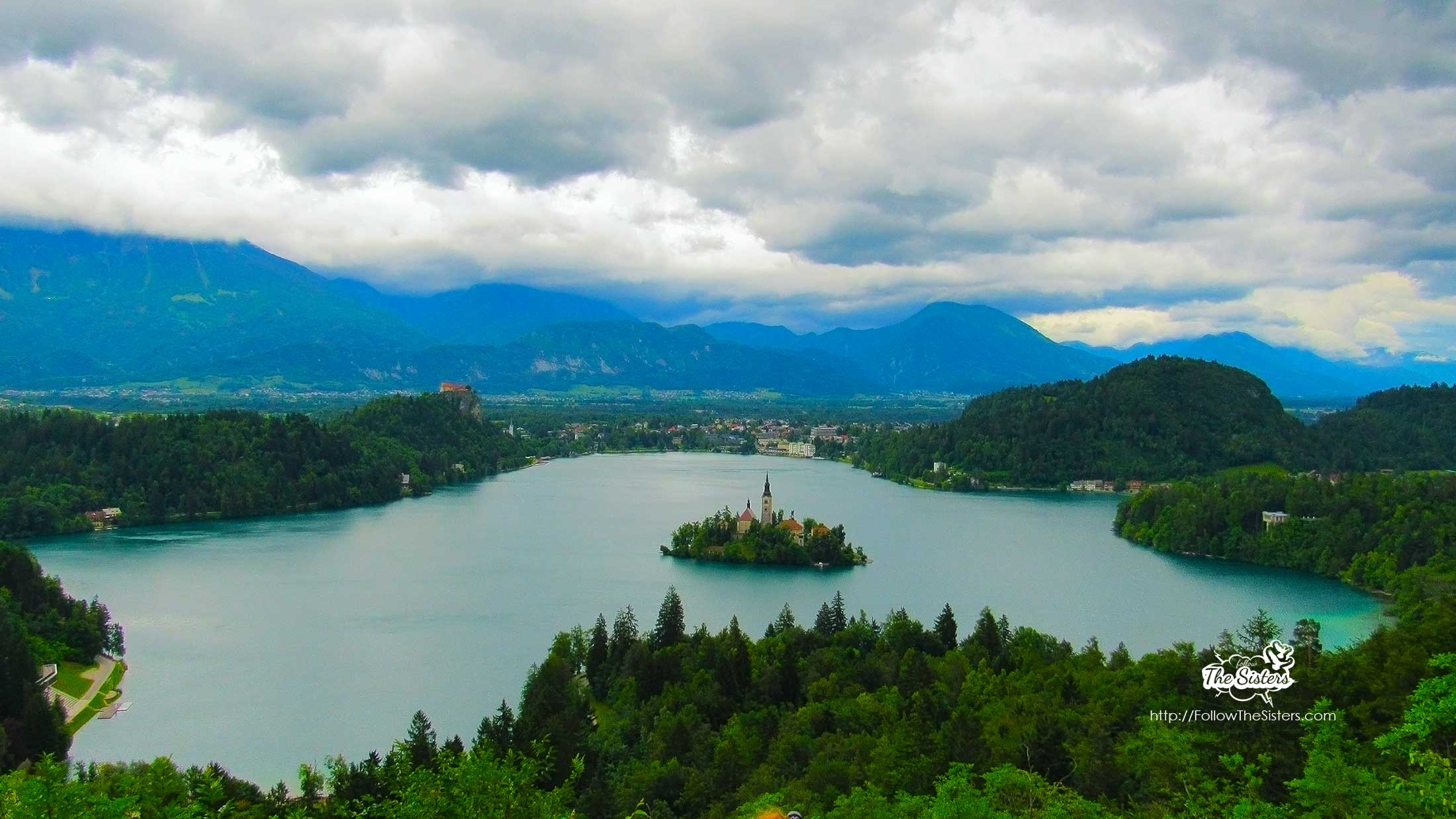 Lake Bled, Slovenia view from famous bench