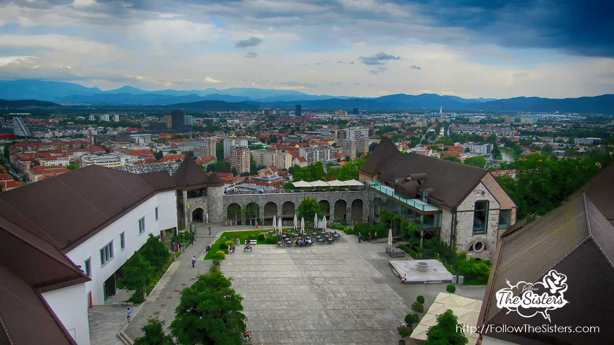 The Ljubljana castle yard as seen from the tower