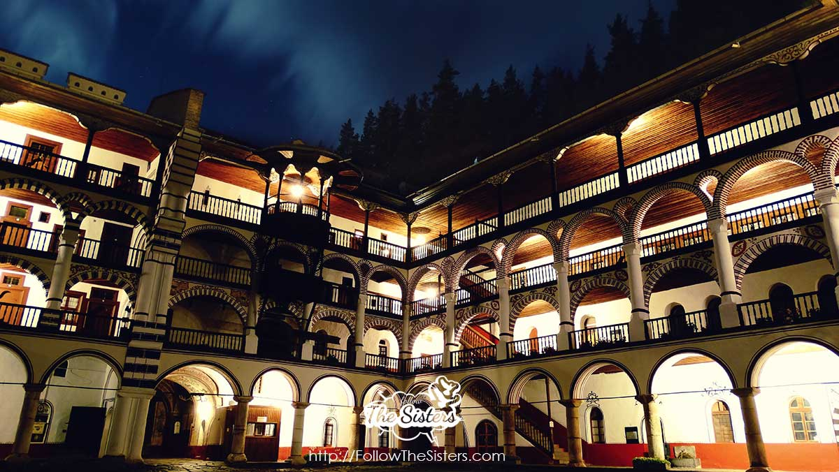 The lights of Rila monastery at night