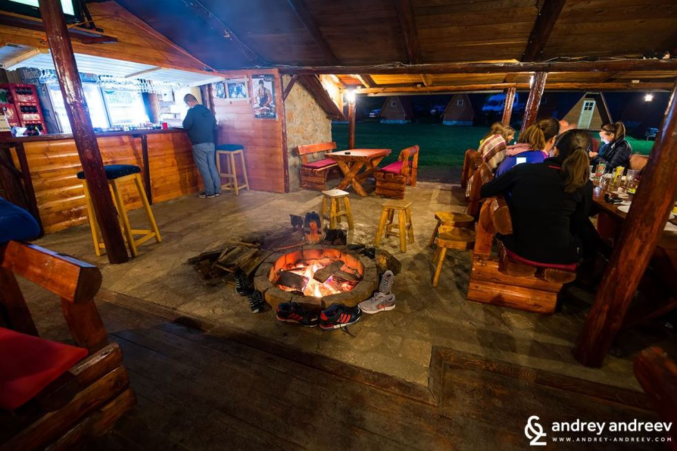 Evening fire in Rafting Center Drina-Tara