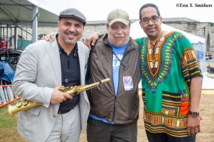 Marco Pignataro and Danilo Pérez with Eric Jackson from WGBH and Follow the Soul Trane.