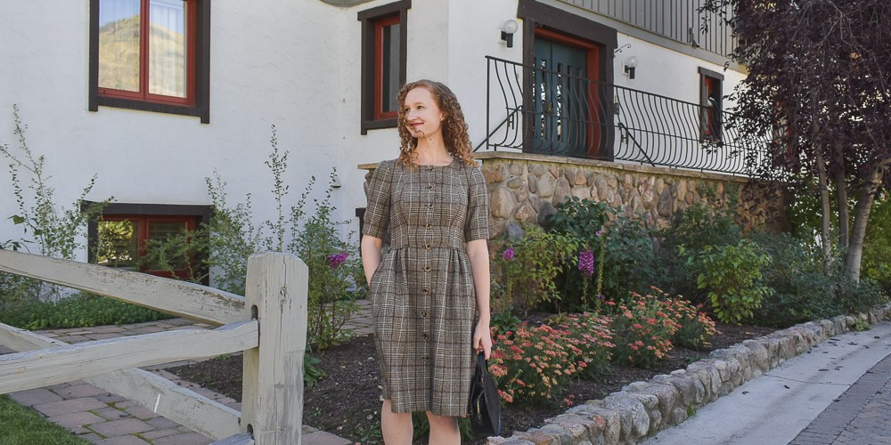 Gal Meets Glam Jeanie Woodland Plaid Dress
