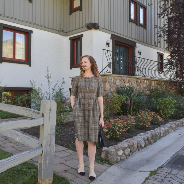 Gal Meets Glam Jeanie Woodland Plaid Dress