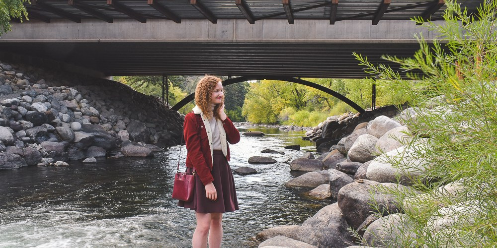 Autumn Red Sherpa Jacket Outfit