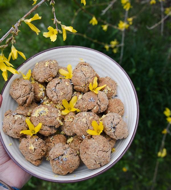 Vegan Forsythia Cookies with Lemon & Lavender