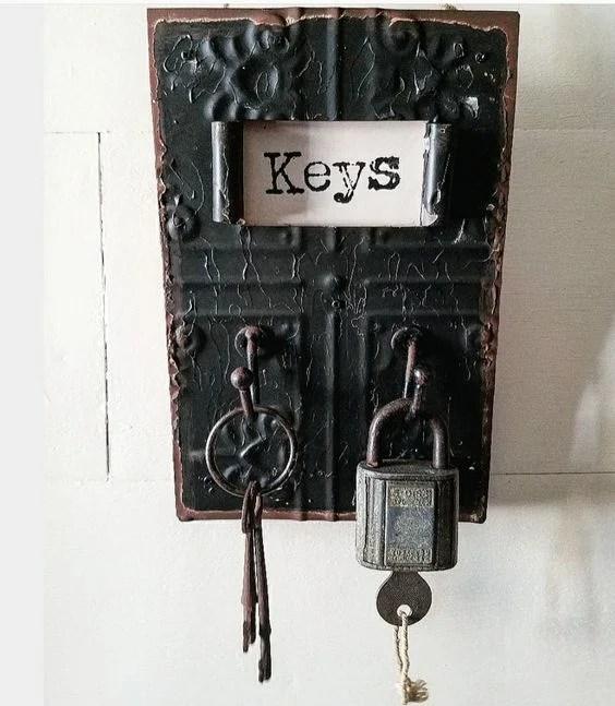 Vintage style key holder for mudroom with vintage keys
