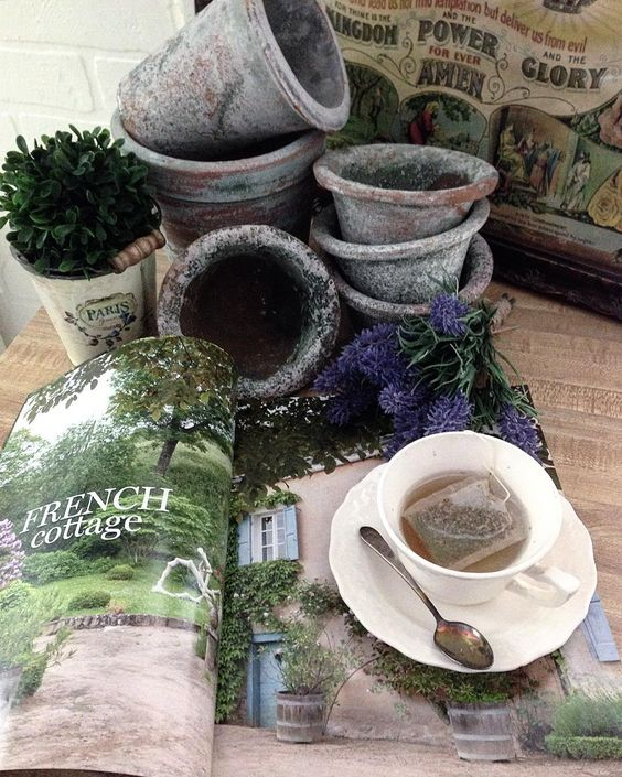 beautiful french cottage garden vignettes pots patina