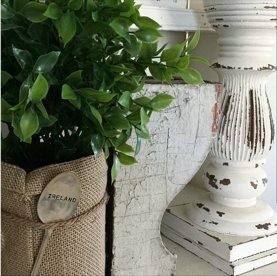 shabby chic white chippy corbel burlap cute farmhouse cottage decorating ideas for Saint Patrick's day and spring decorating with green