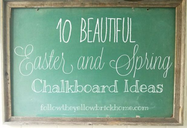 Vintage Green Chalkboard Easter and Spring Chalkboard Ideas