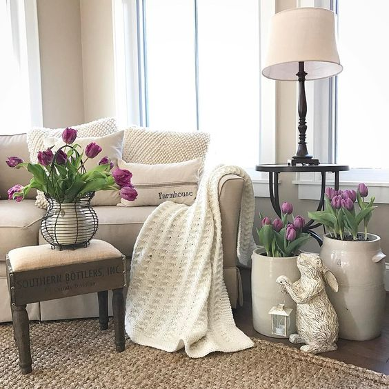 gorgeous modern farmhouse living room styled for spring and Easter