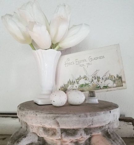 Pretty brocante Easter Vignette with white tulips, vintage Easter postcard, ironstone