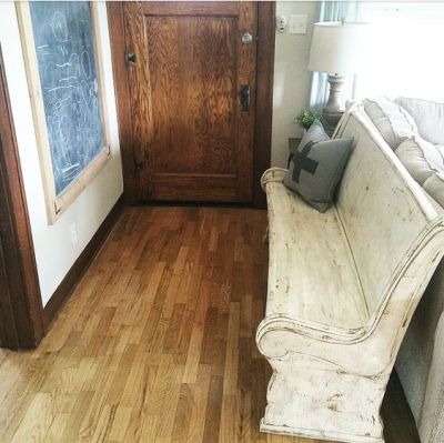 farmhouse style church pew stained trim junklovesisters