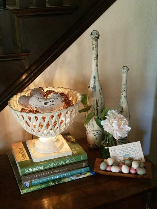pretty pastel easter eggs decorating books vignette