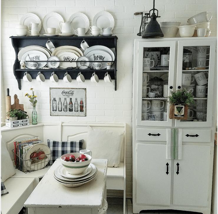 Gorgeous farmhouse kitchen cottage kitchen banquette fixer upper window seat breakfast nook Rae Dunn