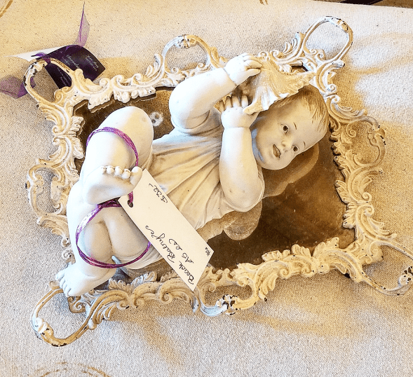 Brocante doll coastal french baby doll seashell
