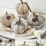 How to give inexpensive Dollar Tree Burlap Pumkins A Shabby Vintage Makeover With Chalk Paint and Vintage Embellishments Chalk Painted Pumpkins DIY