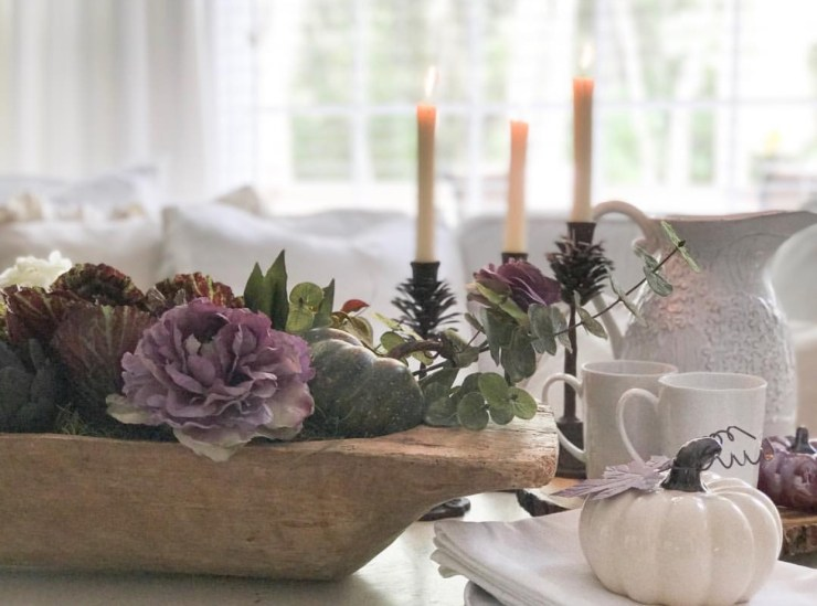 Gorgeous moody fall tablescape dough bowl with autumn kale purple fall decor