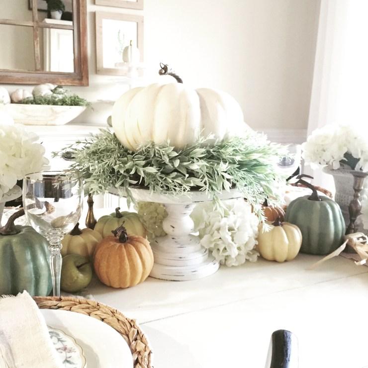 Fall decorating ideas beautiful farmhouse tablescape white pumpkin on a pedestal neutral pumpkins