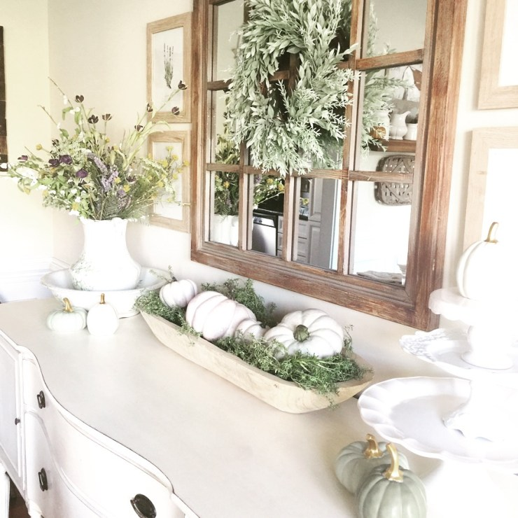 Farmhouse fall decorating ideas shabby chic sideboard buffet white pumpkins in doughbowl