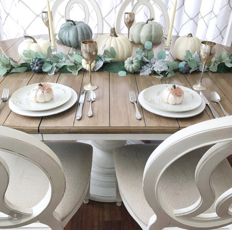 Gorgeous fall table setting in soft muted fall tones farmhouse