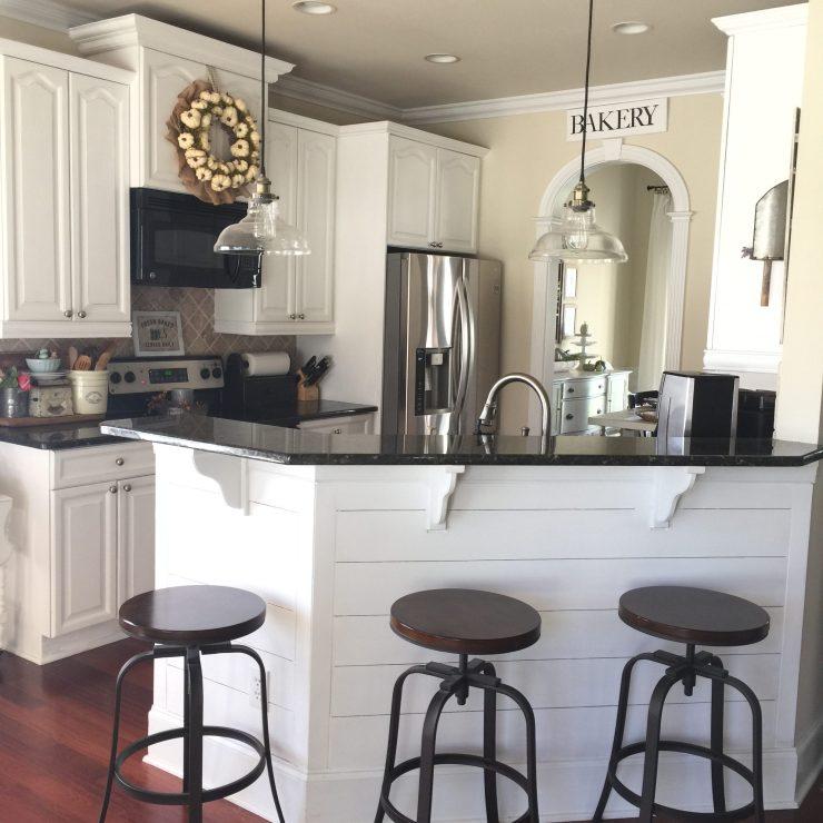 Beautiful cottage kitchen farmhouse kitchen island ideas shiplap corbels white cabinets fall kitchen ideas